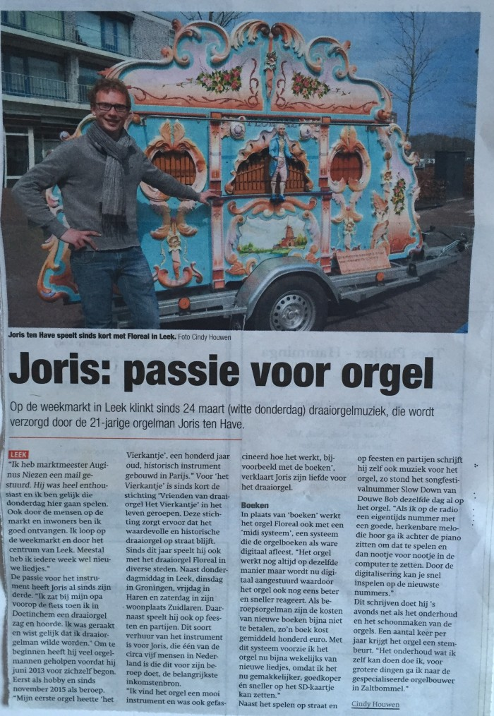 Joris ten Have met draaiorgel Floreal in de midweek.
